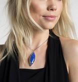 Milla Necklace - Rhodium Crackle Blue Agate