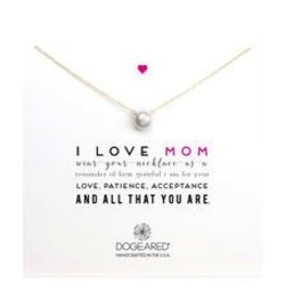 I Love Mom Large White Pearl Necklace - GD 18""