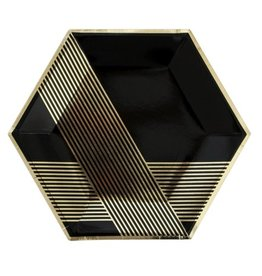 Plate Noir - Black Hexagon Large Party Plates