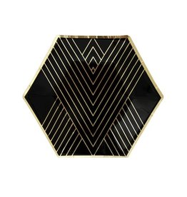 Plate Noir - Black Hexagon Small Party Plates