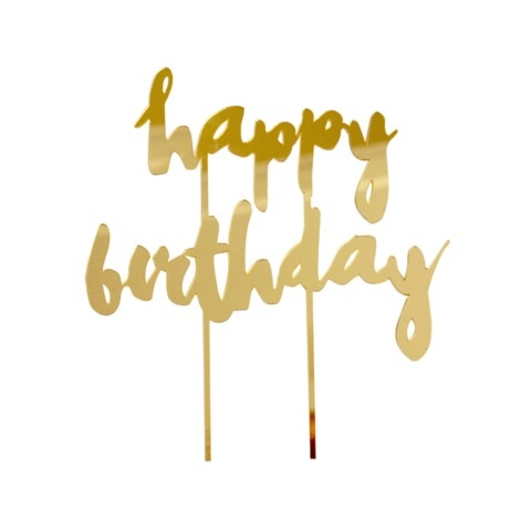 Happy Birthday Gold Mirrored Cake Topper