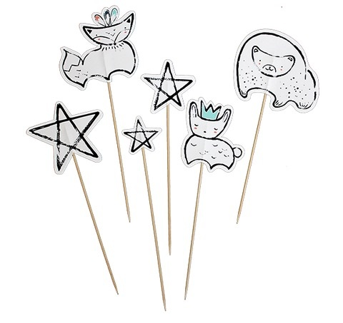 Modern Camp - Woodland Animal & Star Cake/Food Toppers