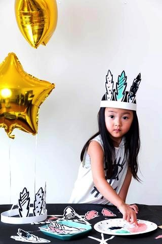 Modern Camp - Feather Crown & Bunny Ears Finger Painting Activity Sets