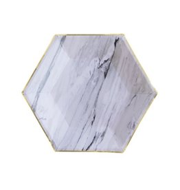 Plate Marble Hexagon Small Party Plates