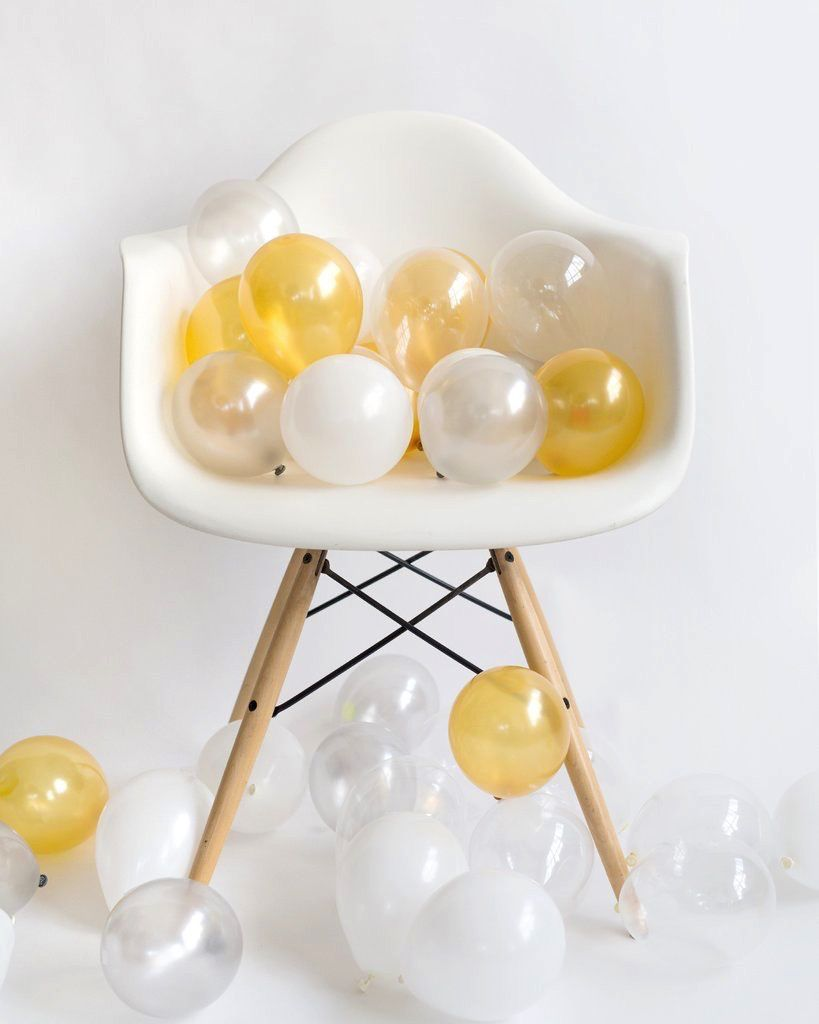 Balloon Balloon Mini: 36 White Metallic