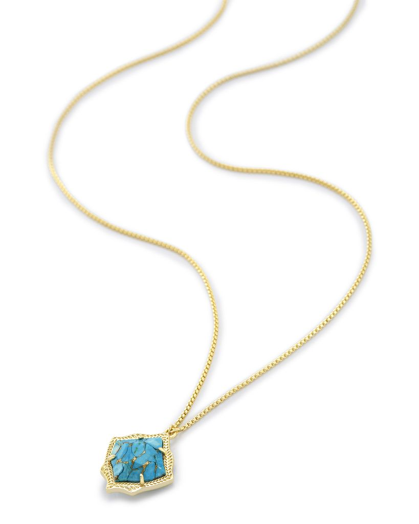 Kacey Necklace - Gold Bronze Veined Turquoise
