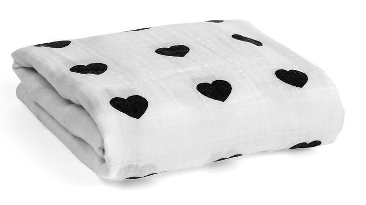 Organic Cotton Muslin Swaddle - Heart