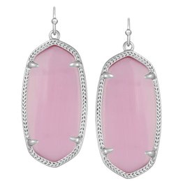 Elle Earring - Rhodium Rose Quartz