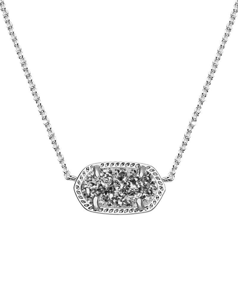 Elisa Necklace - Rhodium Platinum Drusy