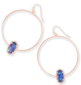 Elora Earring - Rose Gold Navy Dusted Glass