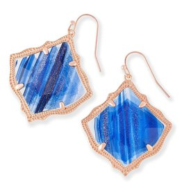 Kirsten Earring - Rose Gold Navy Dusted Glass