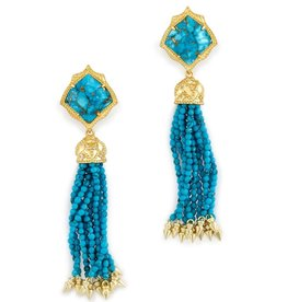 Misha Earring - Gold Bronze Turquoise