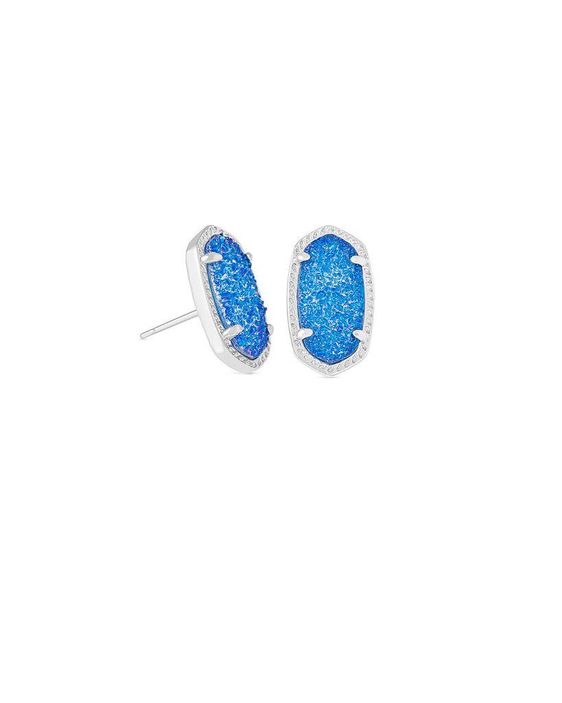 Ellie Earring - Rhodium Cobalt Drusy
