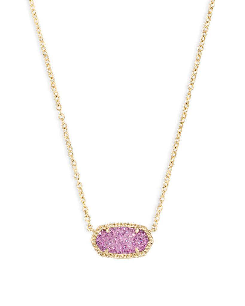 Elisa Necklace - Gold Violet Drusy