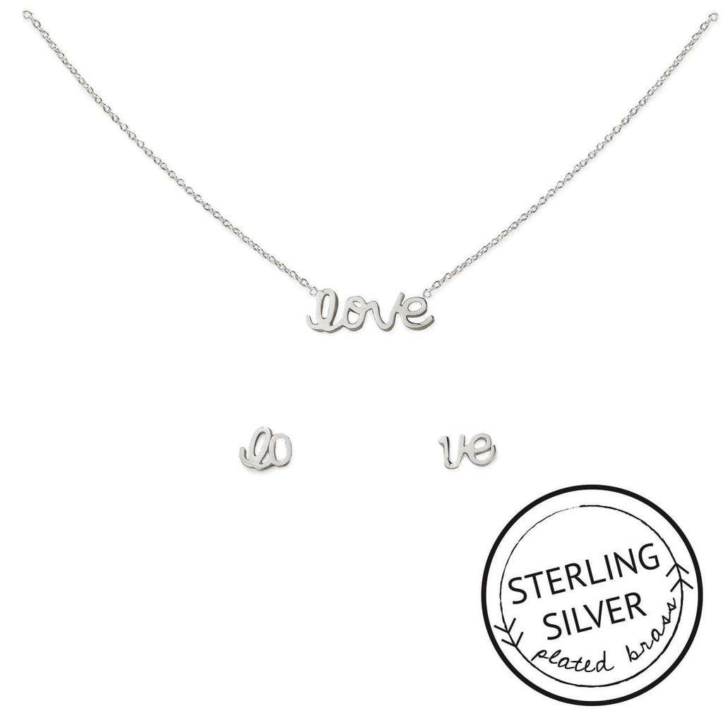 With Love Necklace and Earring Set - Silver