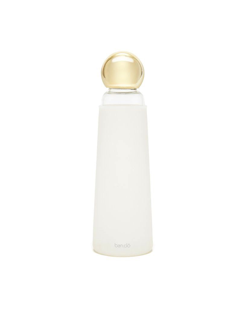 Cool It Glass Water Bottle - White & Gold
