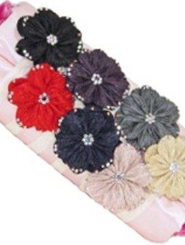 Misc Rhinestone Chiffon Flower Elastic Headband