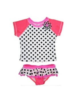 Love u Lots Love U Lots - Neon Polka Dot Rashguard w Ruffle Bottom