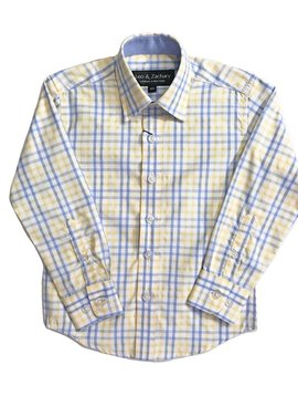 Leo & Zachary Dress Shirt -  Yellow/P.Blue
