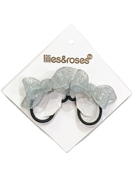 Lilies and Roses Ponytail - Glitter Bows - Silver