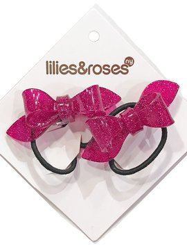 Lilies and Roses Ponytail - Glitter Bows - Pink
