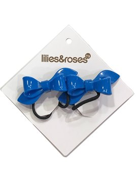 Lilies and Roses Ponytail - Bows - Medium Blue