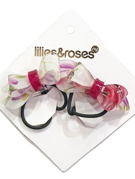 Lilies and Roses Ponytail - Bows - Print Flower