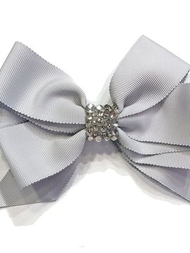 Bari Lynn Fancy X-Large Bow - Grey