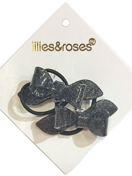 Lilies and Roses Ponytail - Glitter Bows - Black