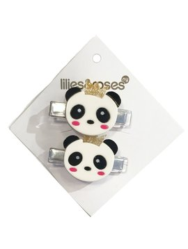 Lilies and Roses Alligator Clip - Panda