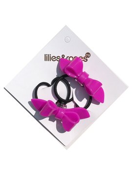 Lilies and Roses Ponytail - Bows - Fuchsia