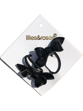 Lilies and Roses Ponytail - Bows - Black