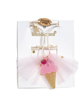 Lilies and Roses Necklace - Ice Cream Satin