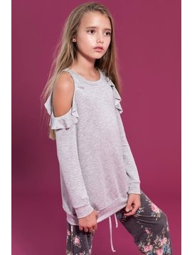 Survolte Ruffle Cold Shoulder Terry Sweatshirt