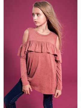 Survolte Ruffled Cold Shoulder Top