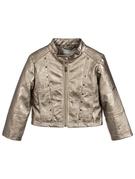 Mayoral Faux Leather Jacket - Gold
