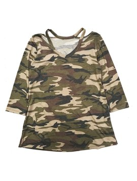Survolte Camo Cut-Out Neck Tunic