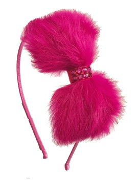 Bari Lynn Fur Bow Headband