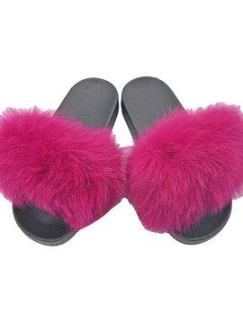 Sugar Bear Hot Pink Fox Fur Slides