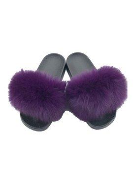 Sugar Bear Purple Fox Fur Slides