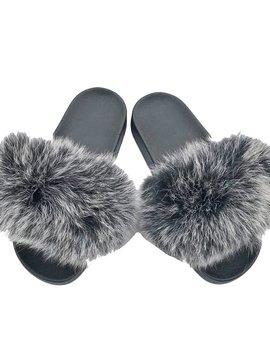 Sugar Bear Grey Black Fox Fur Slides