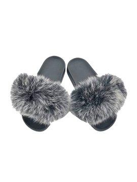 Survolte Grey Black Fox Fur Slides