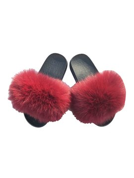 Survolte Currant Fox Fur Slides