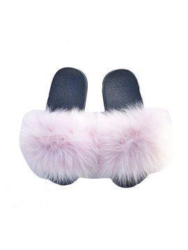 Survolte Light Pink Fox Fur Slides