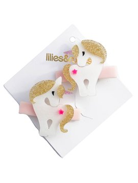 Lilies and Roses Alligator Clip - Gold Unicorn