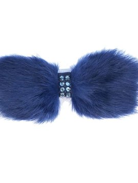 Bari Lynn Navy Fur Bow
