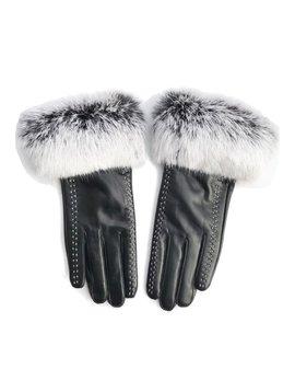Survolte Rabbit Fur Gloves w Stitching