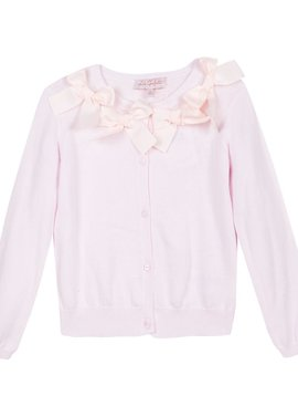 Lili Gaufrette Pink Cardigan with Bows