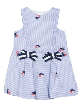 Lili Gaufrette Pin Stripe Floral Dress w Bow
