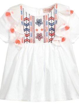 Lili Gaufrette Neon Embroidered Tassel Blouse